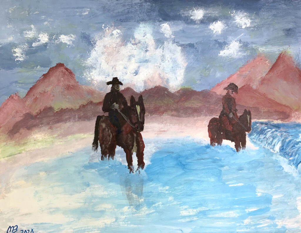 """<p align=""""left""""><strong><em>Wild West III</em></strong></br>22 x 28""""</br>Acrylic on paper</br>$150</br><strong><a href=""""https://checkout.square.site/merchant/NQX1GCJY9CN1F/checkout/SPKU474DRYWBZ5GGNGVIMNRC"""">PURCHASE</a></strong></p>"""
