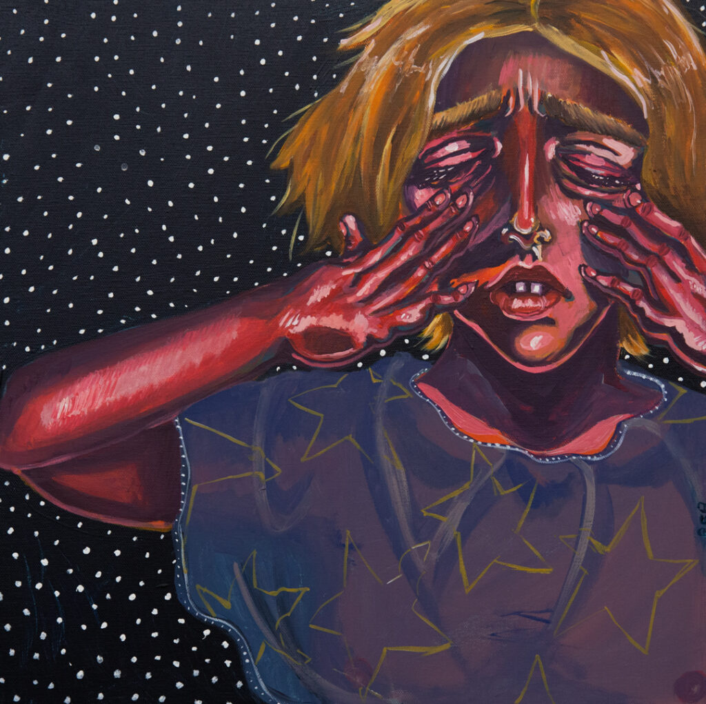 """<p align=""""left""""><strong><em>Tears and Stars</em></strong></br>18 x 18""""</br>Acrylic paint on canvas</br>$250</br>"""
