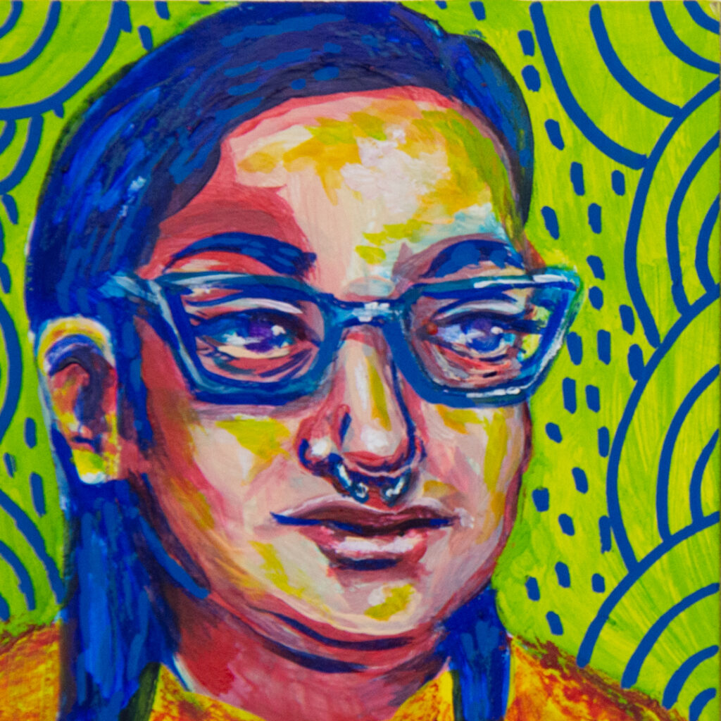 """<p align=""""left""""><strong><em>Vibes at 3 p.m.</em></strong></br>3 x 3""""</br>Gouache, acrylic paint pen, crayon on gesso board</br>$50</br>"""