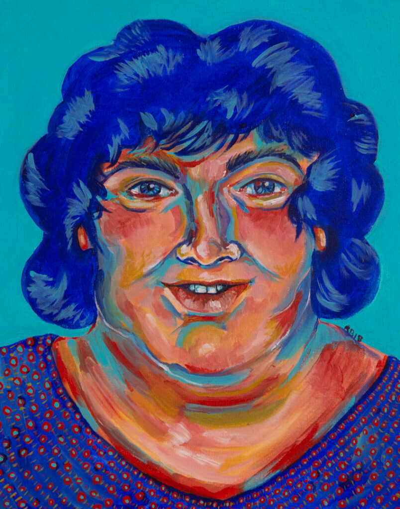 """<p align=""""left""""><strong><em>Woman in Blue</em></strong></br>16 x 12""""</br>Acrylic paint on canvas</br>$250</br>"""
