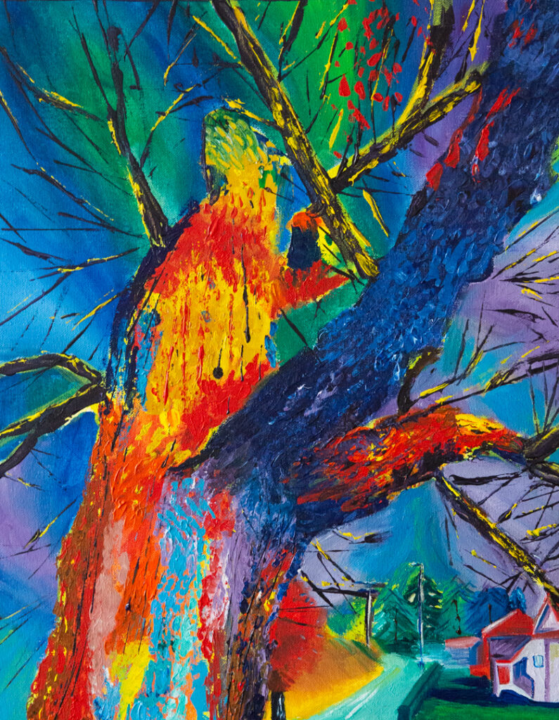 """<p align=""""left""""><strong><em>Grandma's Tree</em></strong></br>16 x 12""""</br>Acrylic paint on canvas</br>$250</br>"""